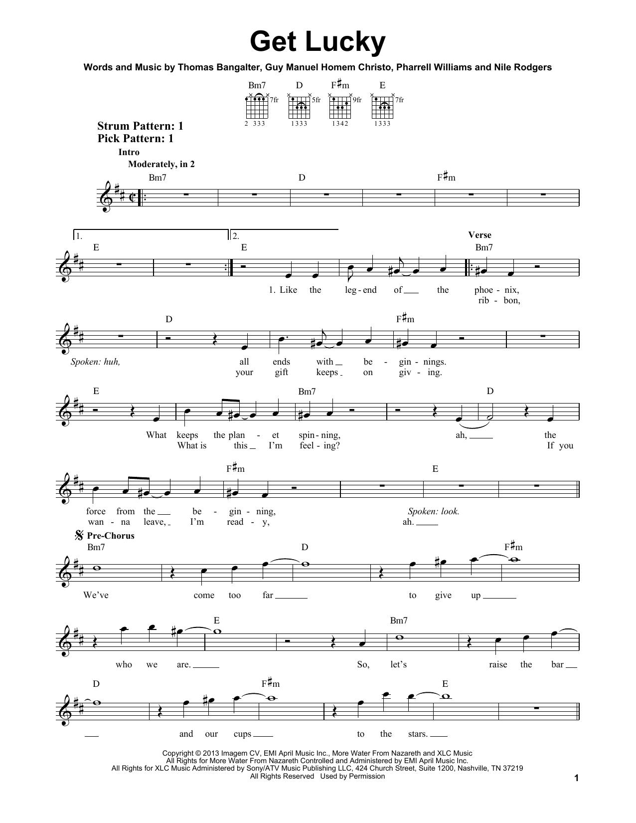 Tablature guitare Get Lucky (feat. Pharrell Williams) de Daft Punk - Tablature guitare facile
