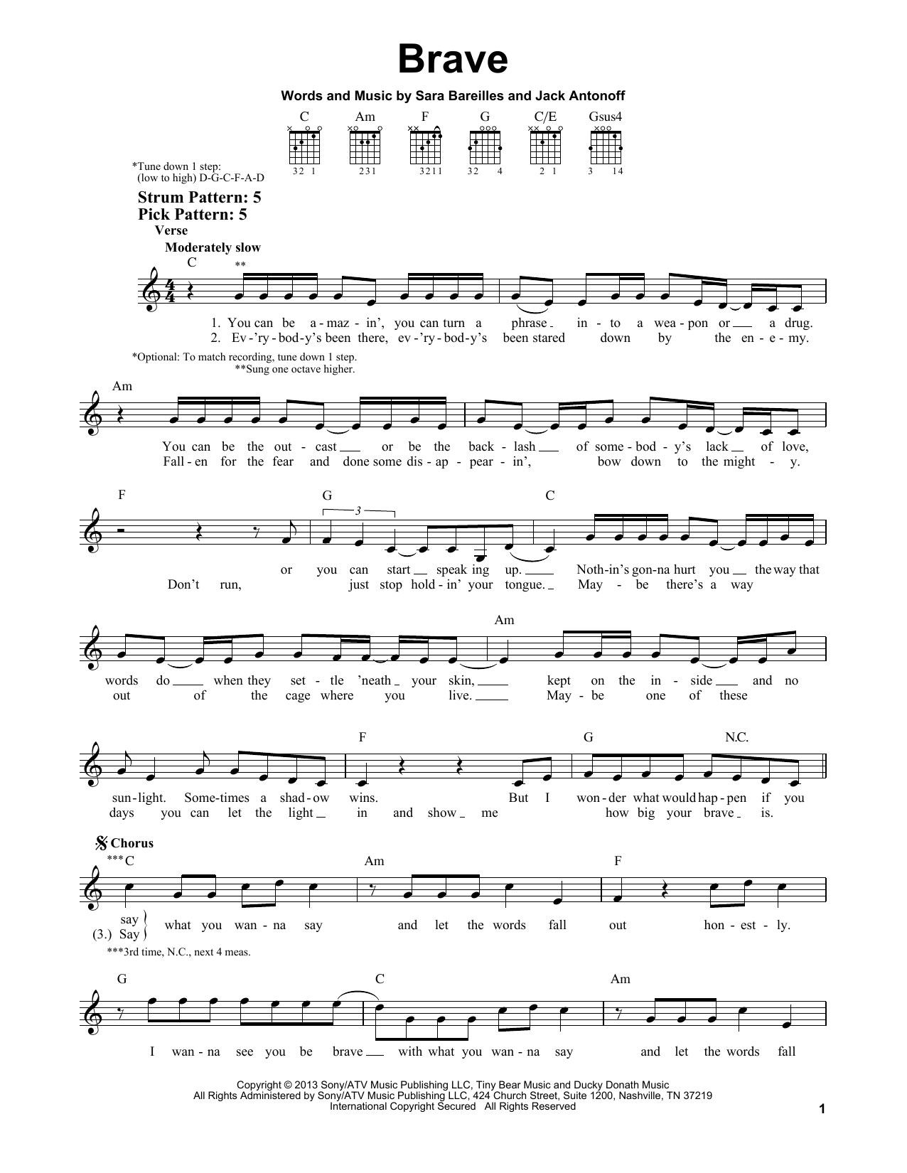 Tablature guitare Brave de Sara Bareilles - Tablature guitare facile