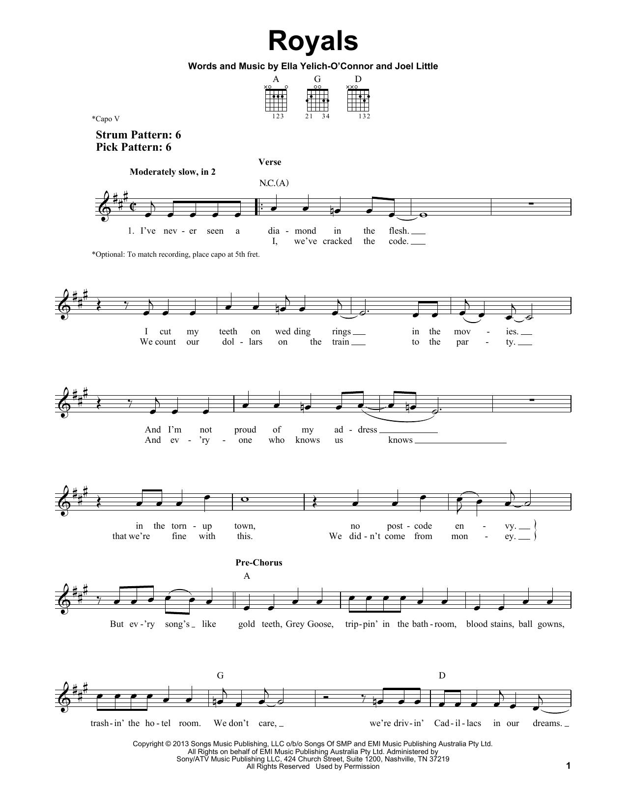 Tablature guitare Royals de Lorde - Tablature guitare facile