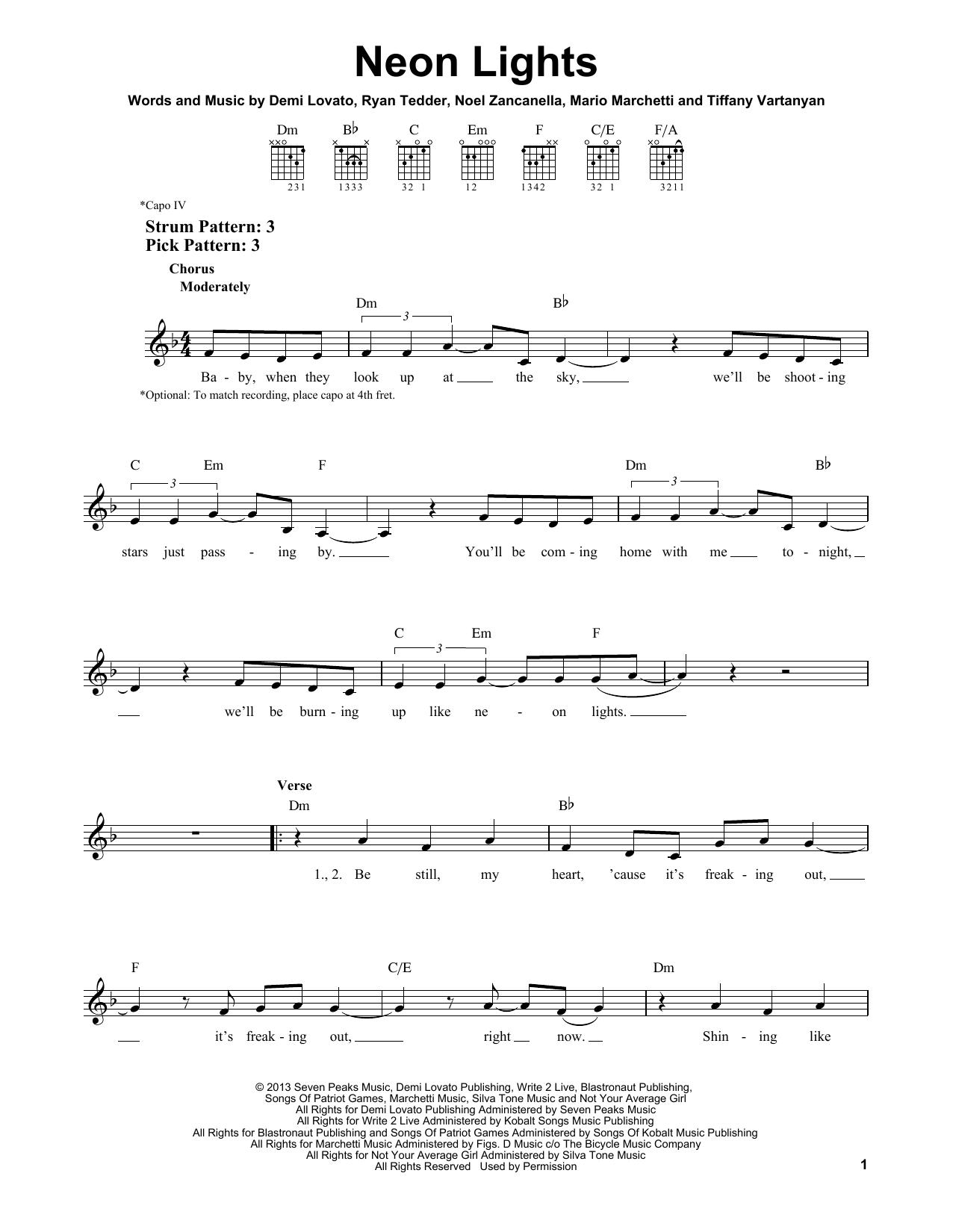 Tablature guitare Neon Lights de Demi Lovato - Tablature guitare facile