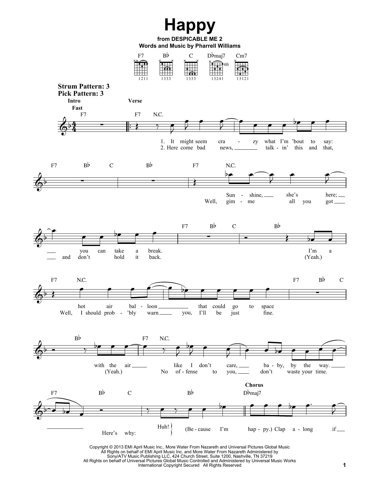 Tablature guitare Happy de Pharrell Williams - Tablature guitare facile