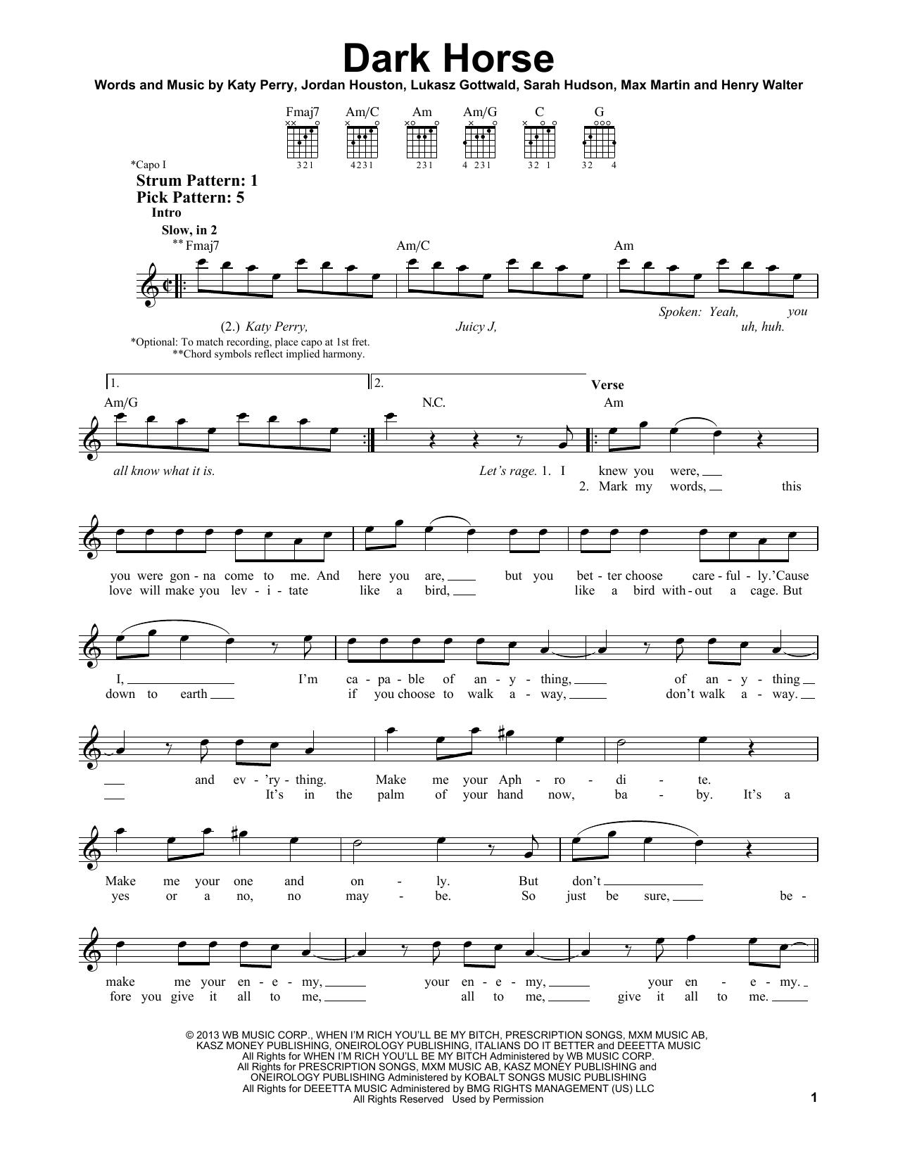 Tablature guitare Dark Horse de Katy Perry - Tablature guitare facile