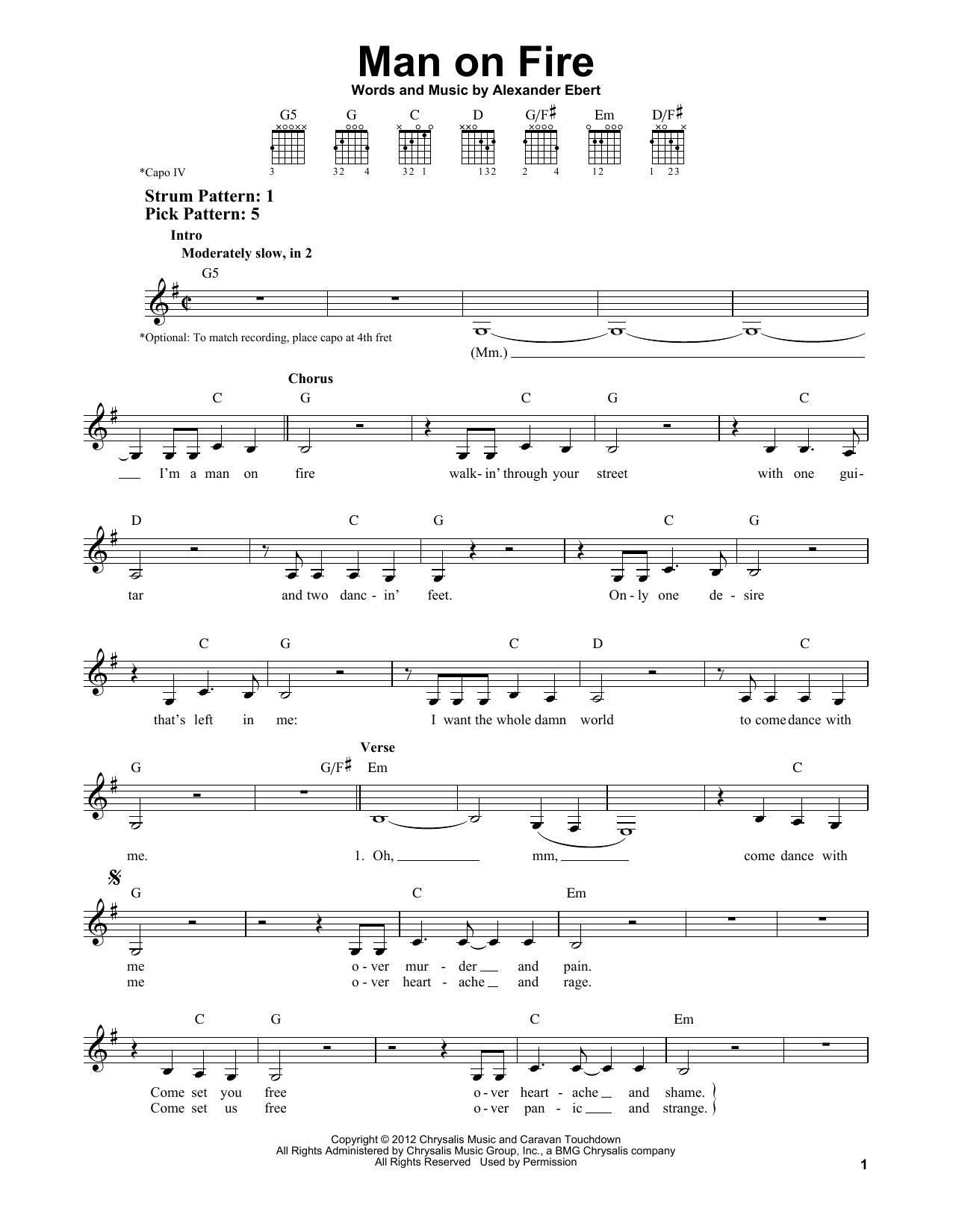 Tablature guitare Man On Fire de Edward Sharpe and the Magnetic Zeros - Tablature guitare facile