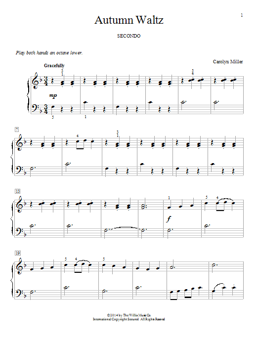 5 Easy Duets - Early to Mid-Elementary Level by Carolyn Miller