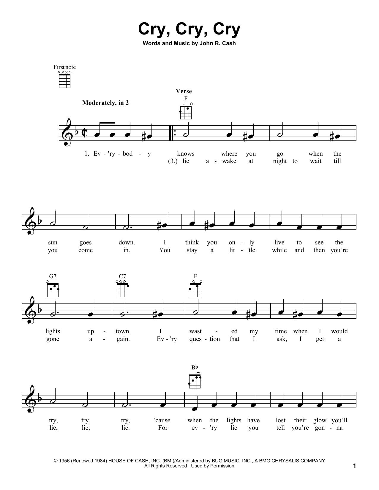 Tablature guitare Cry, Cry, Cry de Johnny Cash - Ukulele