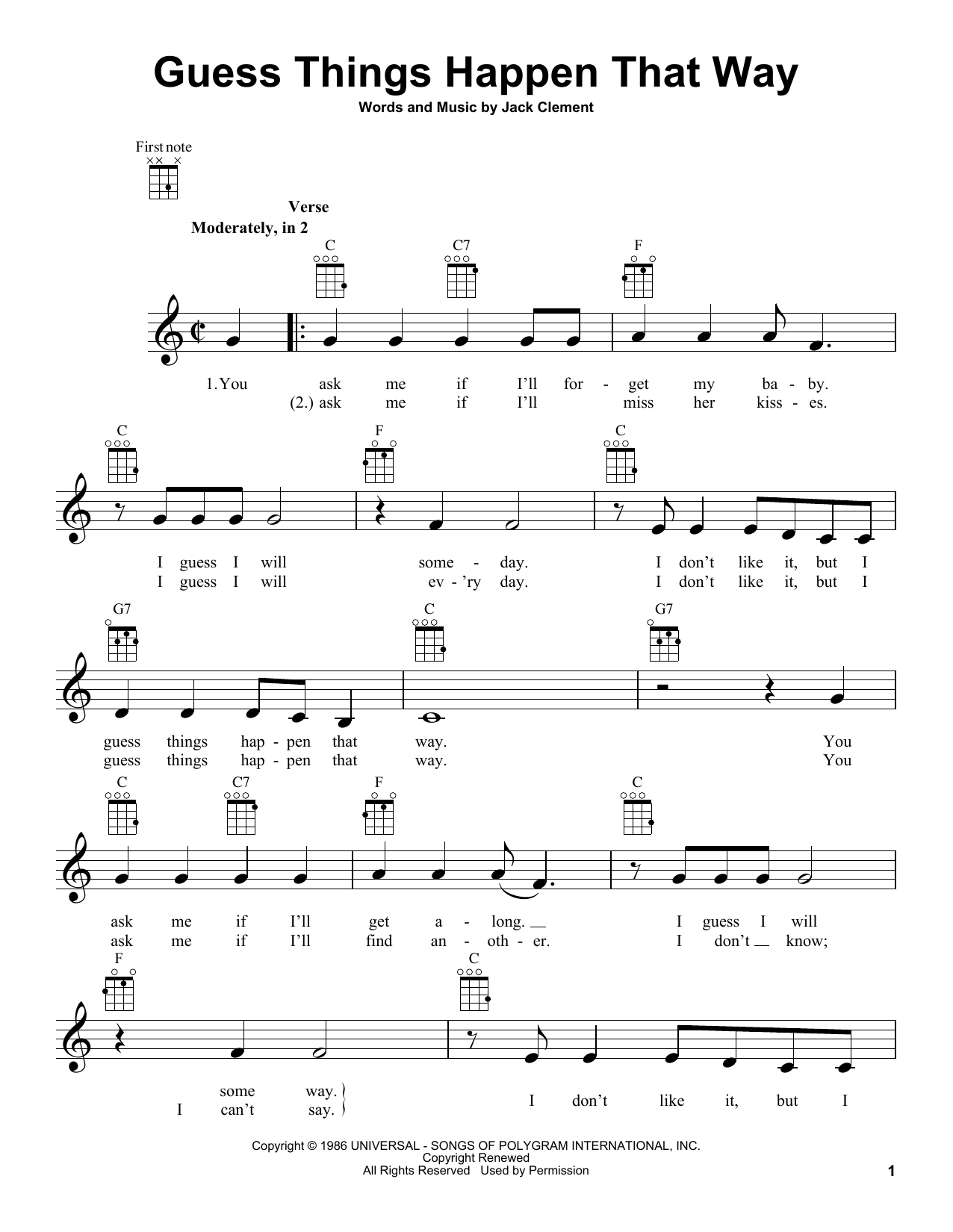 Tablature guitare Guess Things Happen That Way de Johnny Cash - Ukulele