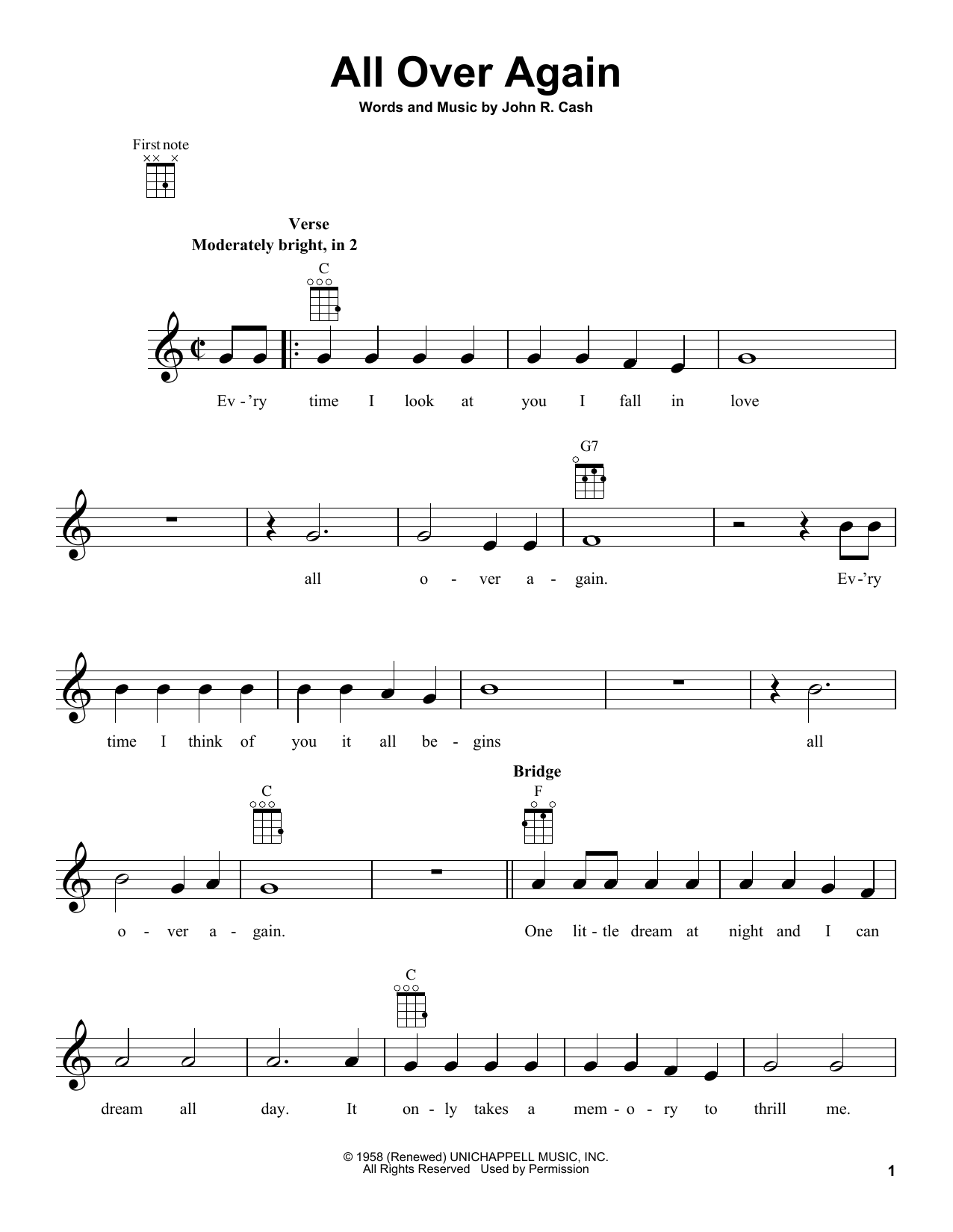 Tablature guitare All Over Again de Johnny Cash - Ukulele