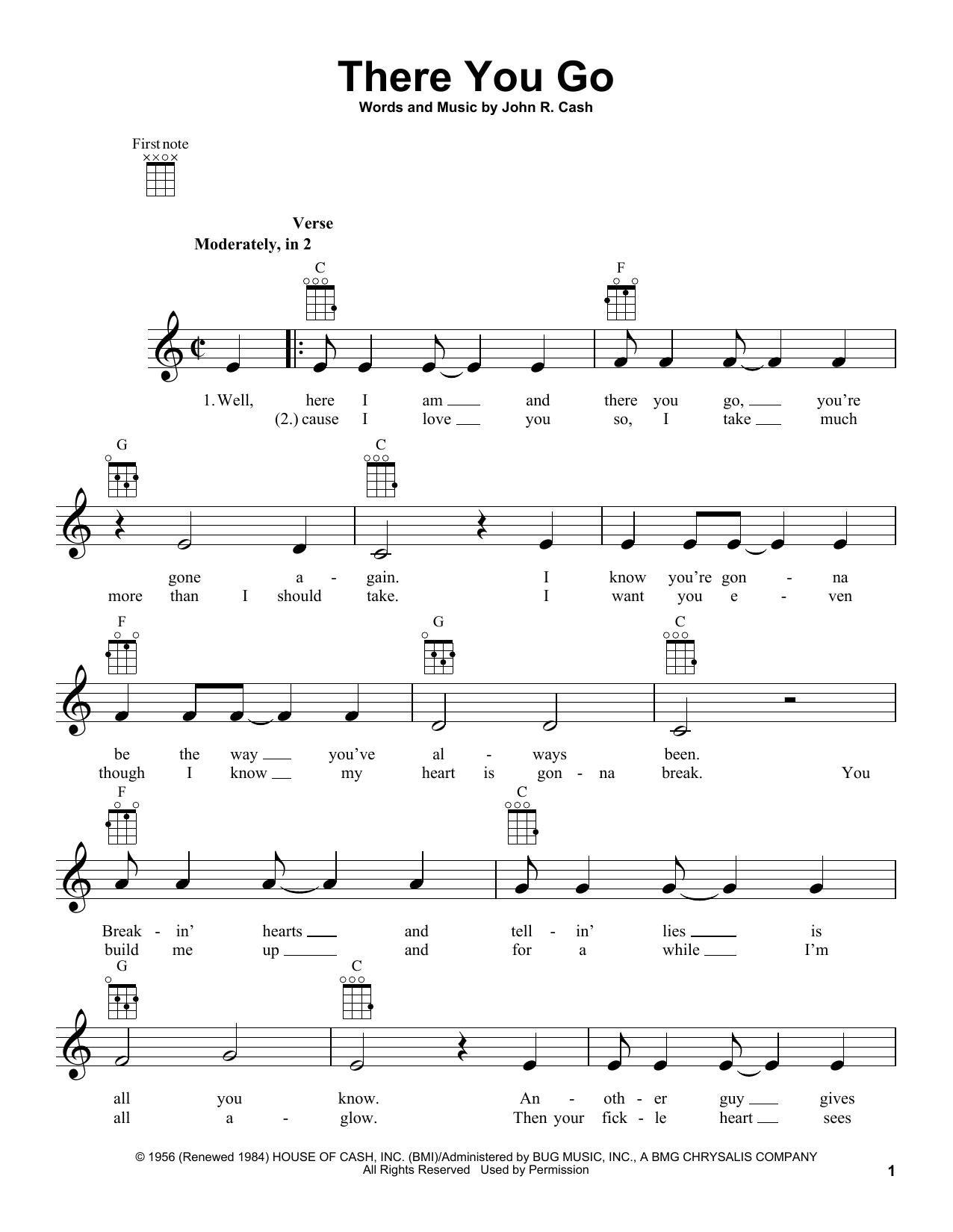 Tablature guitare There You Go de Johnny Cash - Ukulele