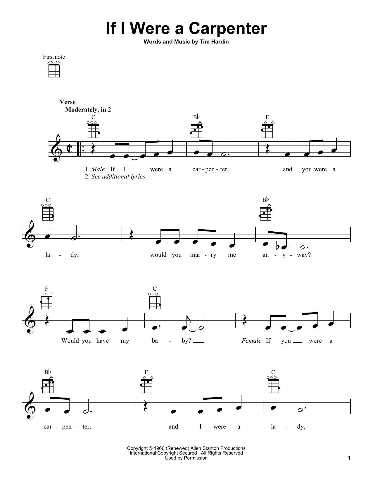 Tablature guitare If I Were A Carpenter de Johnny Cash & June Carter - Ukulele