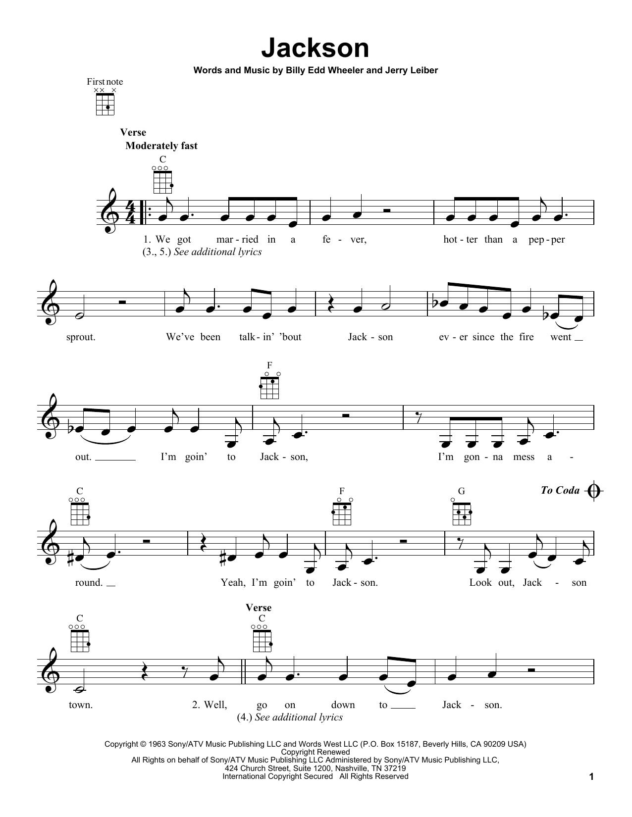 Tablature guitare Jackson de Johnny Cash - Ukulele