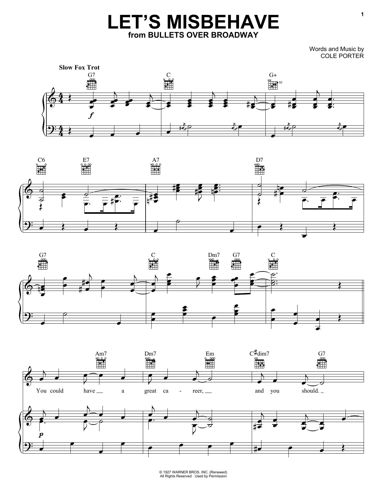 Partition piano Let's Misbehave de Cole Porter - Piano Voix Guitare (Mélodie Main Droite)