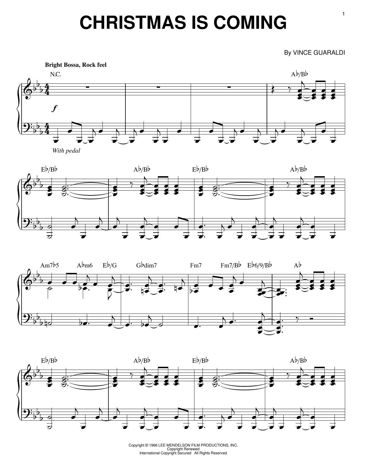 Partition piano Christmas Is Coming de Vince Guaraldi - Piano Solo