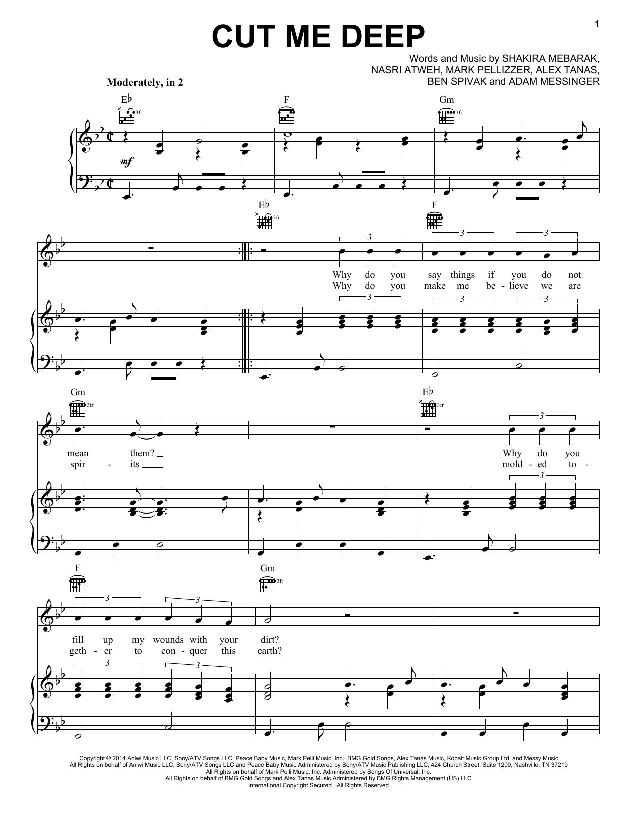 Partition piano Cut Me Deep de Shakira - Piano Voix Guitare (Mélodie Main Droite)