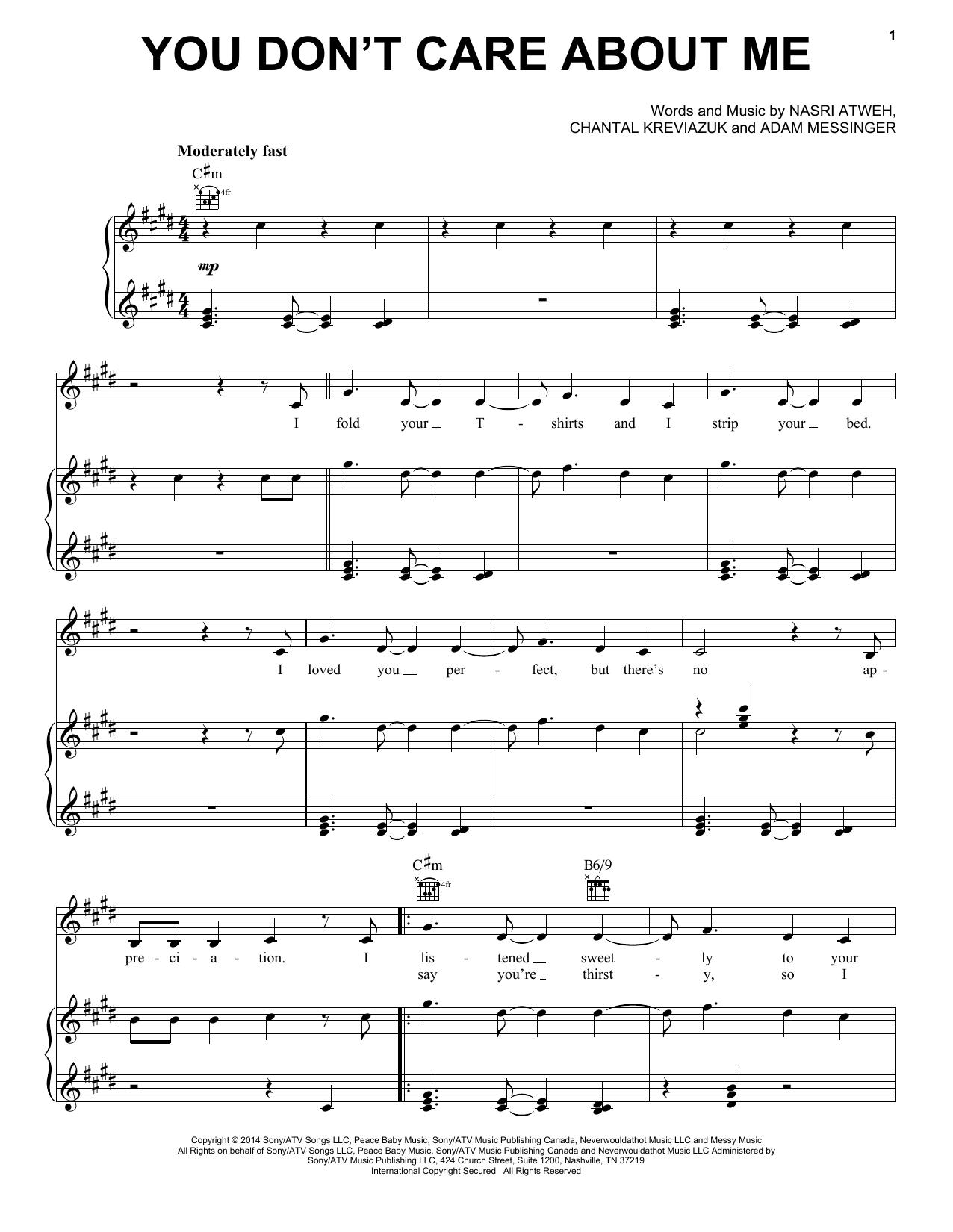 Partition piano You Don't Care About Me de Shakira - Piano Voix Guitare (Mélodie Main Droite)