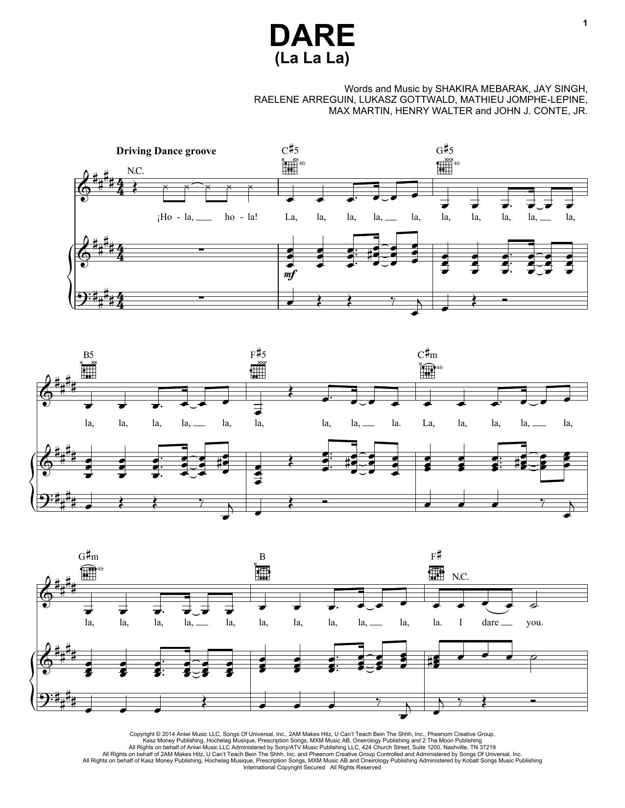 Partition piano Dare (La La La) de Shakira - Piano Voix Guitare (Mélodie Main Droite)