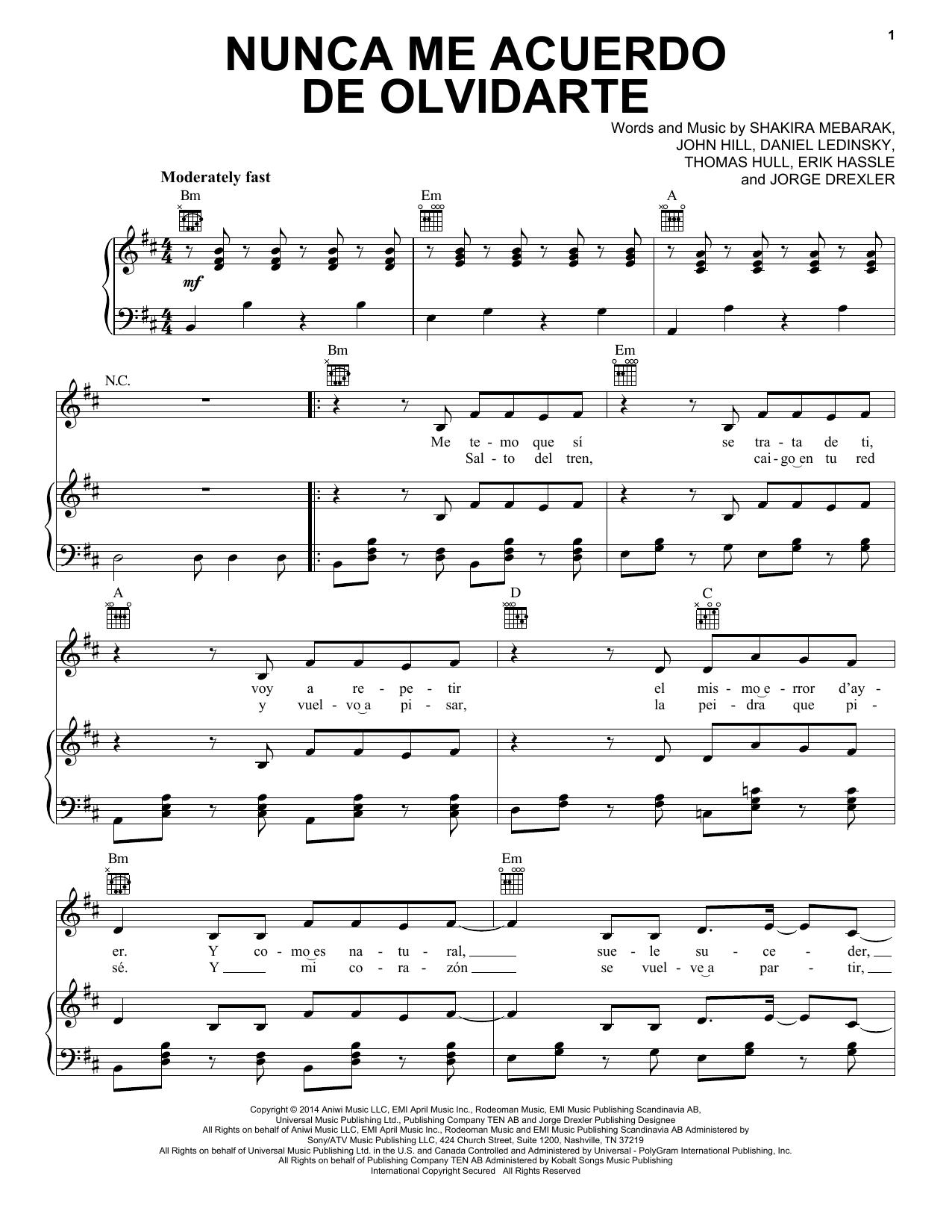 Partition piano Nunca Me Acuerdo De Olvidarte de Shakira - Piano Voix Guitare (Mélodie Main Droite)