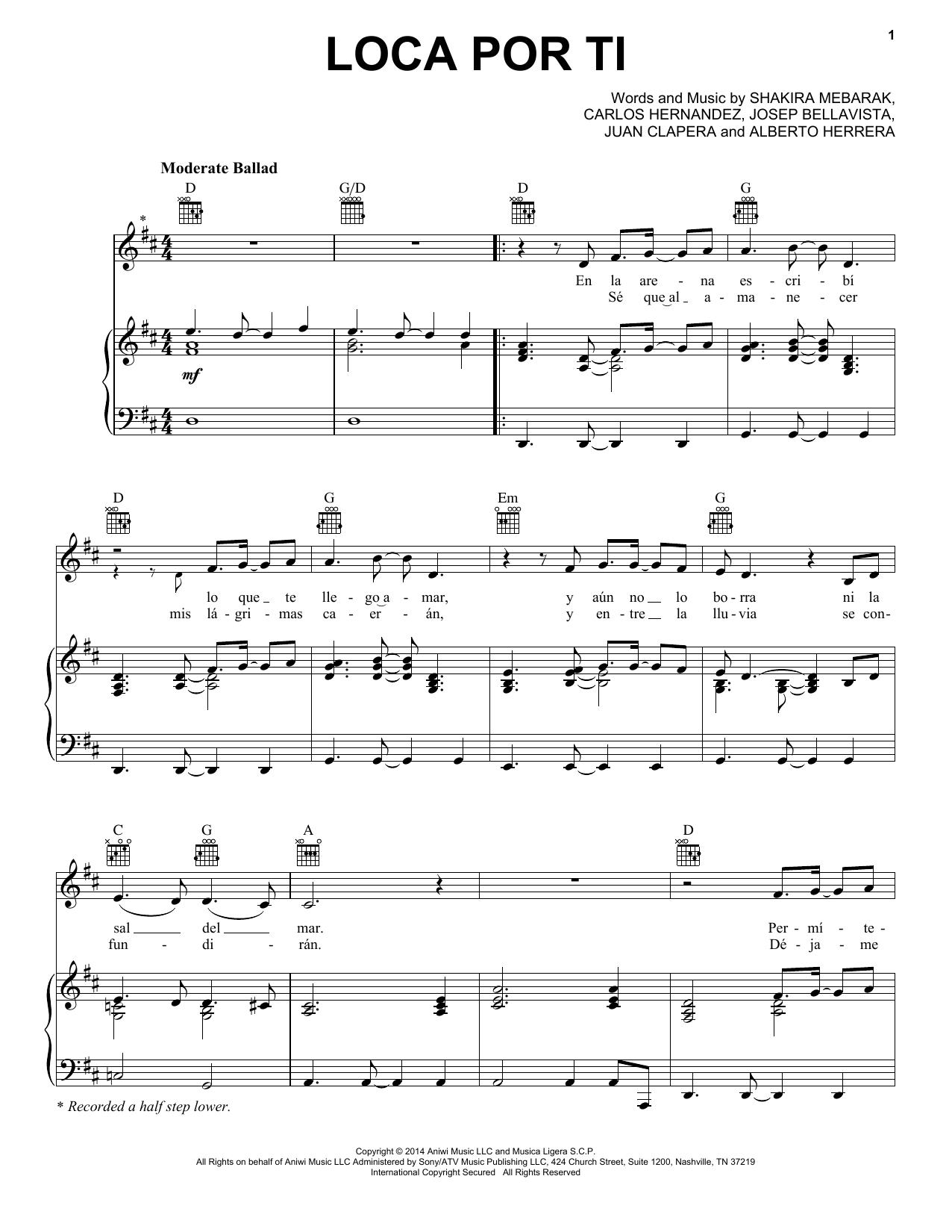 Partition piano Loca Por Ti de Shakira - Piano Voix Guitare (Mélodie Main Droite)