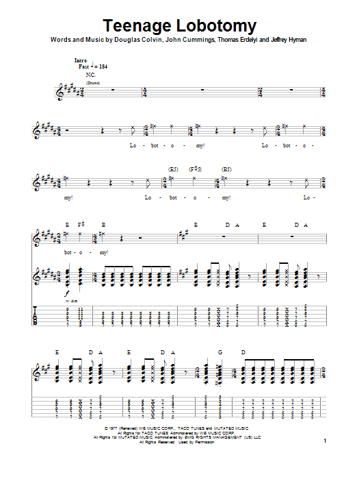 Tablature guitare Teenage Lobotomy de Ramones - Tablature Guitare