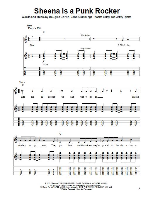 Tablature guitare Sheena Is A Punk Rocker de Ramones - Tablature Guitare