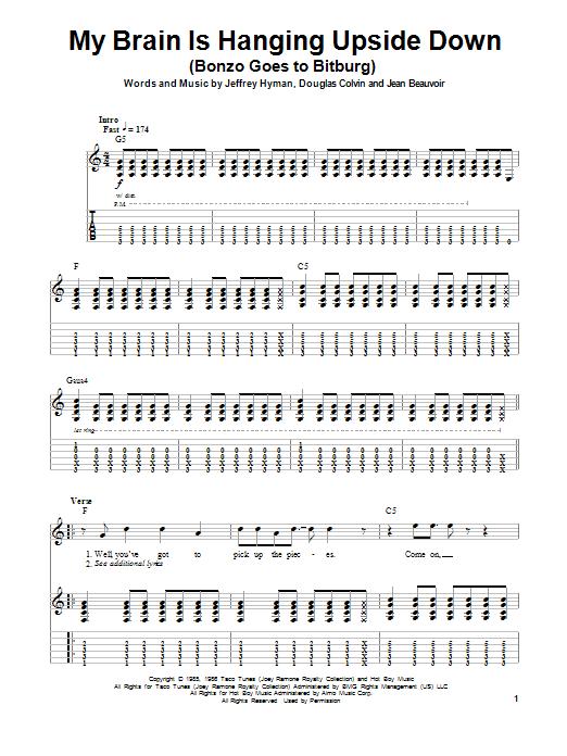 Tablature guitare My Brain Is Hanging Upside Down (Bonzo Goes To Bitburg) de Ramones - Tablature Guitare