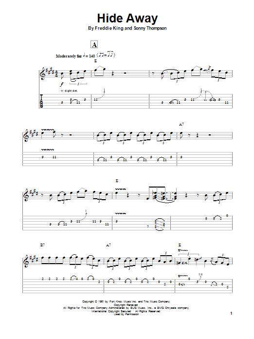 Tablature guitare Hide Away de John Mayall's Bluesbreakers with Eric Clapton - Tablature Guitare