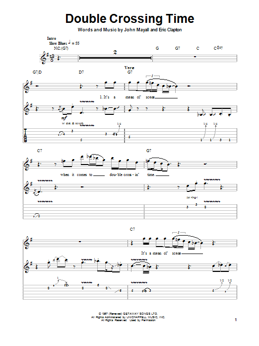 Tablature guitare Double Crossing Time de John Mayall's Bluesbreakers with Eric Clapton - Tablature Guitare