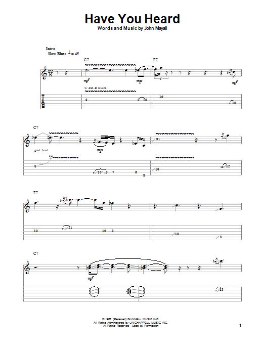Tablature guitare Have You Heard de John Mayall's Bluesbreakers with Eric Clapton - Tablature Guitare