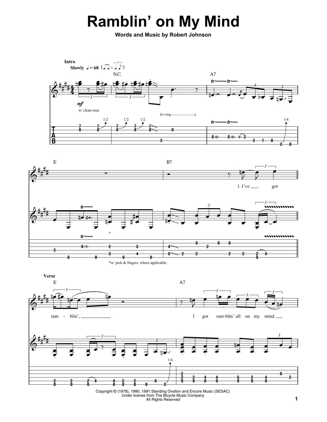 Tablature guitare Ramblin' On My Mind de John Mayall's Bluesbreakers with Eric Clapton - Tablature Guitare