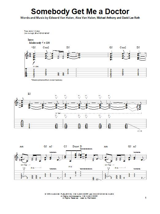 Tablature guitare Somebody Get Me A Doctor de Van Halen - Tablature Guitare