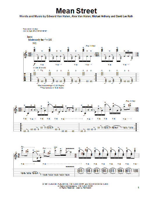 Tablature guitare Mean Street de Van Halen - Tablature Guitare