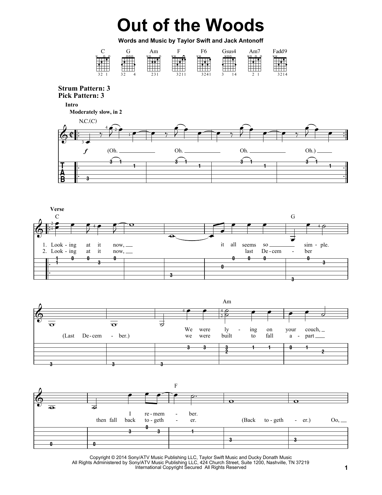 Tablature guitare Out Of The Woods de Taylor Swift - Tablature guitare facile