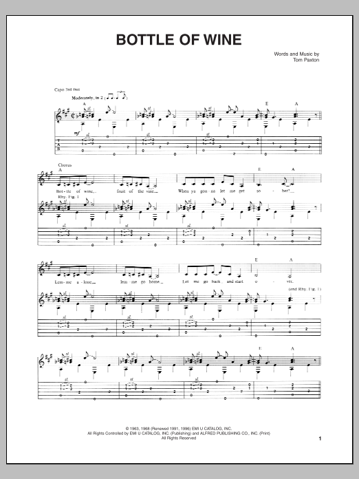 Tablature guitare Bottle Of Wine de Tom Paxton - Tablature Guitare