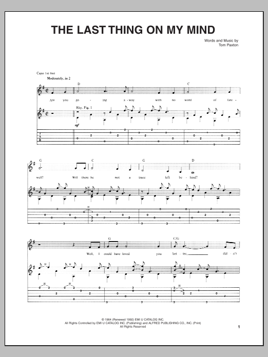 Tablature guitare The Last Thing On My Mind de Tom Paxton - Tablature Guitare