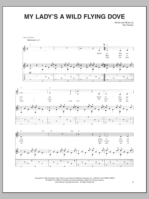 Tablature guitare My Lady's A Wild Flying Dove de Tom Paxton - Tablature Guitare