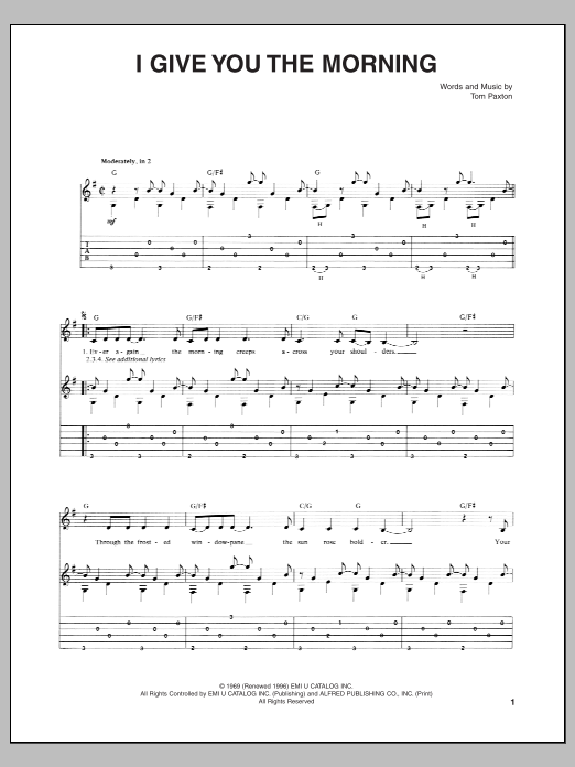 Tablature guitare I Give You The Morning de Tom Paxton - Tablature Guitare