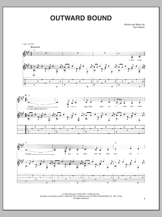 Tablature guitare Outward Bound de Tom Paxton - Tablature Guitare