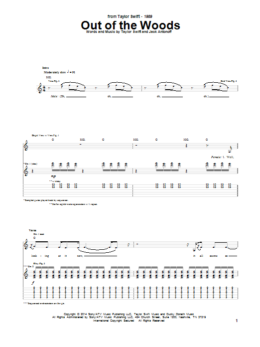 Tablature guitare Out Of The Woods de Taylor Swift - Tablature Guitare