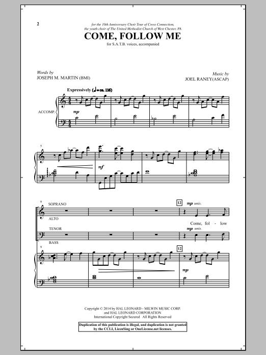 Partition chorale Come, Follow Me de Joseph M. Martin - SATB