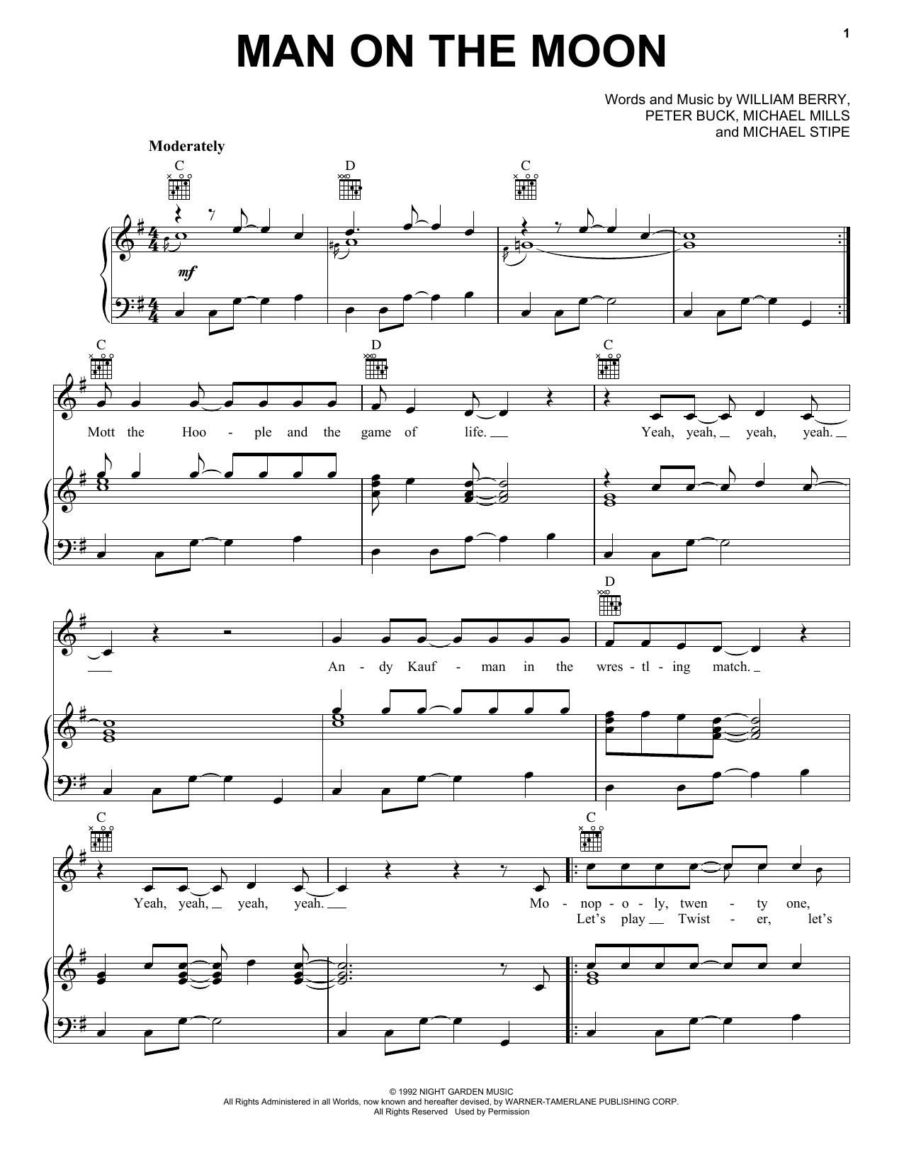 Partition piano Man On The Moon de R.E.M. - Piano Voix Guitare (Mélodie Main Droite)