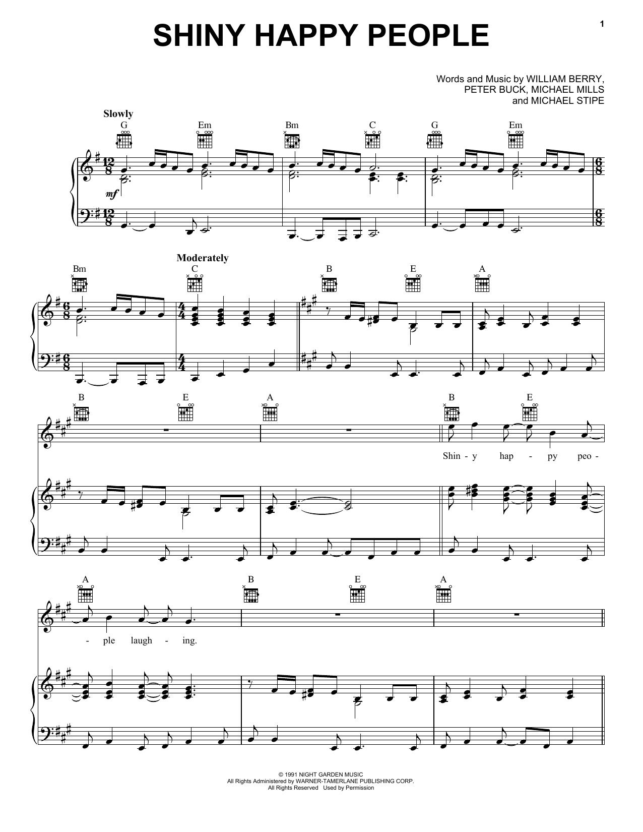 Partition piano Shiny Happy People de R.E.M. - Piano Voix Guitare (Mélodie Main Droite)