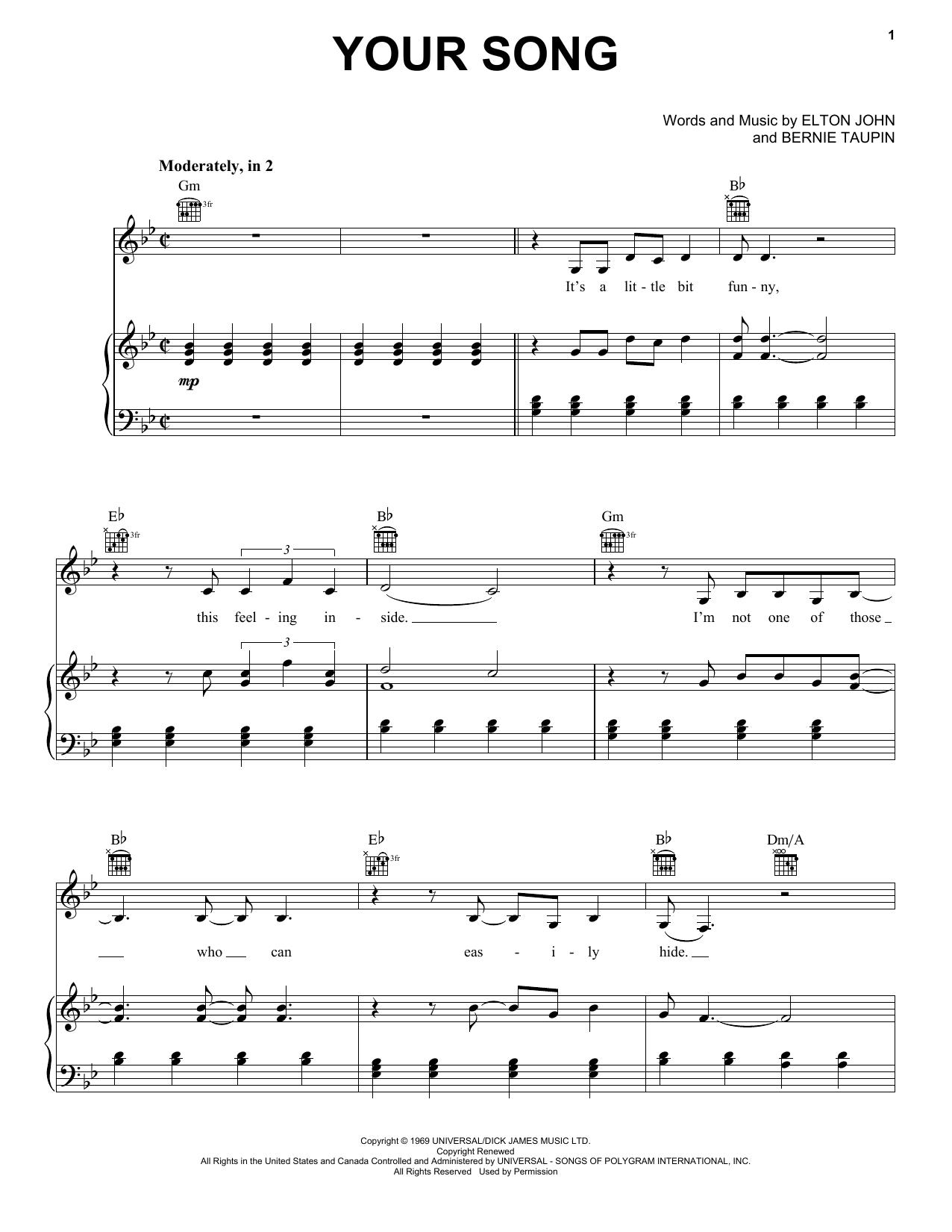 Partition piano Your Song de Elton John - Piano Voix Guitare (Mélodie Main Droite)