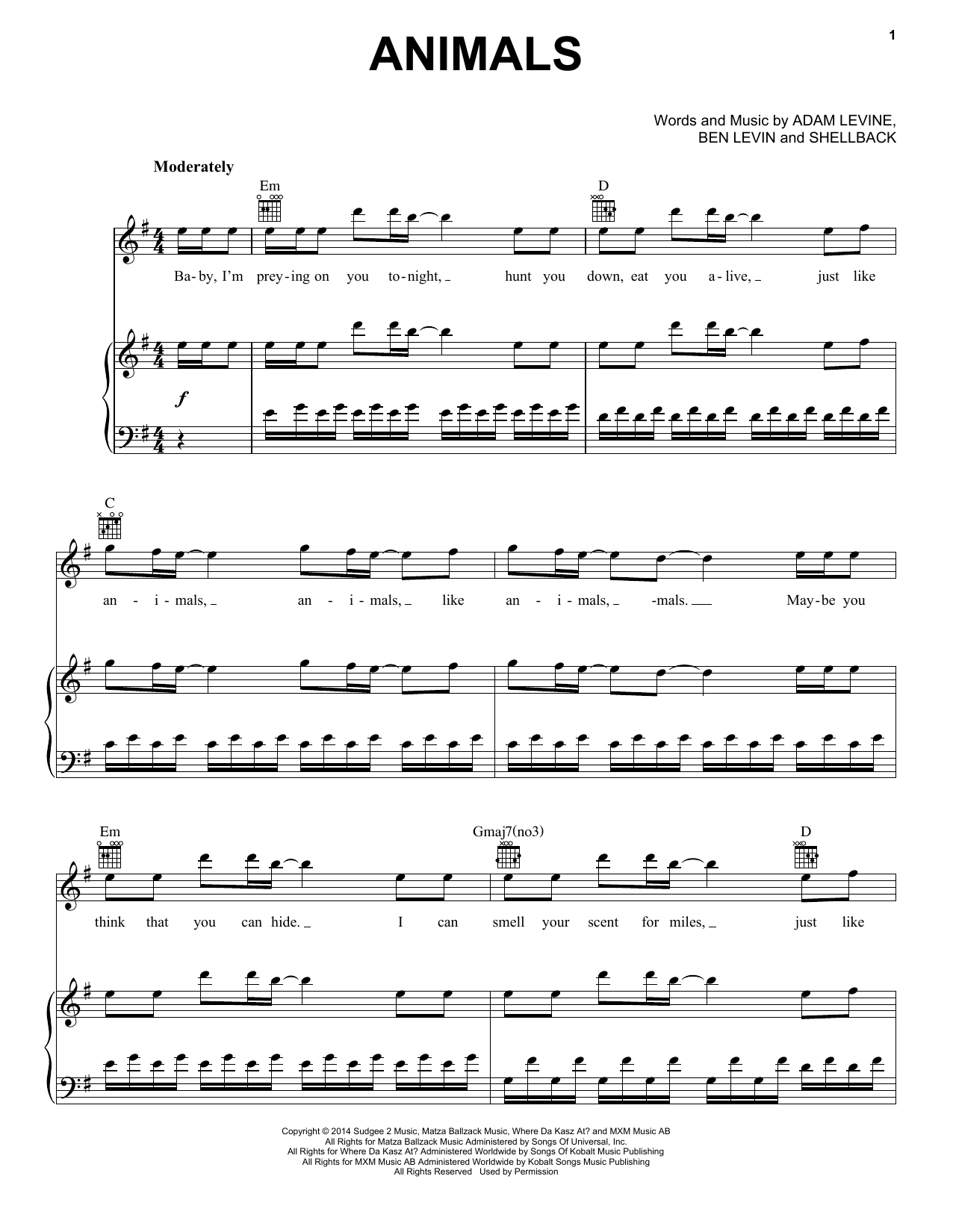 Partition piano Animals de Maroon 5 - Piano Voix Guitare (Mélodie Main Droite)