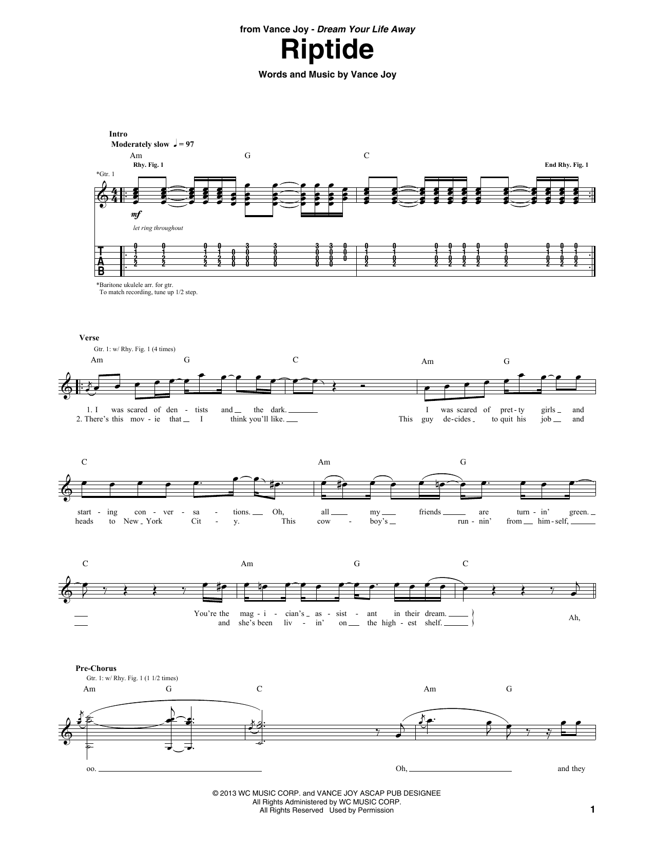 Riptide Guitar Tab by Vance Joy (Guitar Tab u2013 156510)