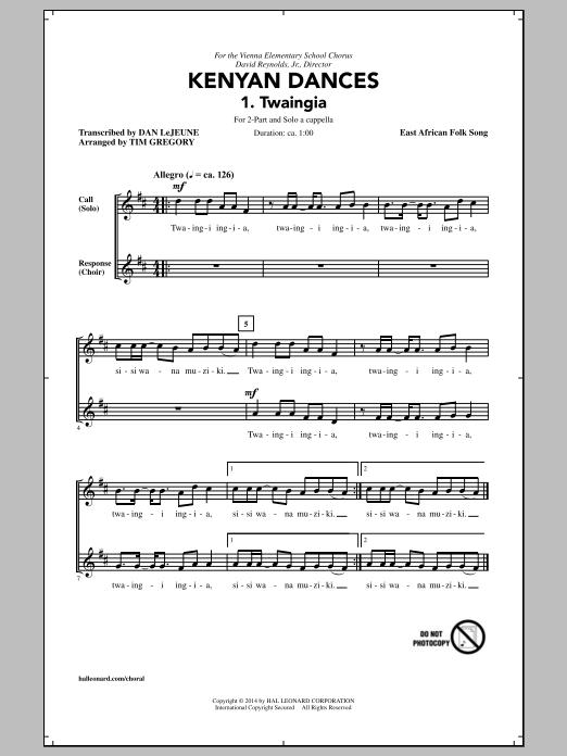 Partition chorale Kenyan Dances (arr. Tim Gregory) de Traditional - 2 voix
