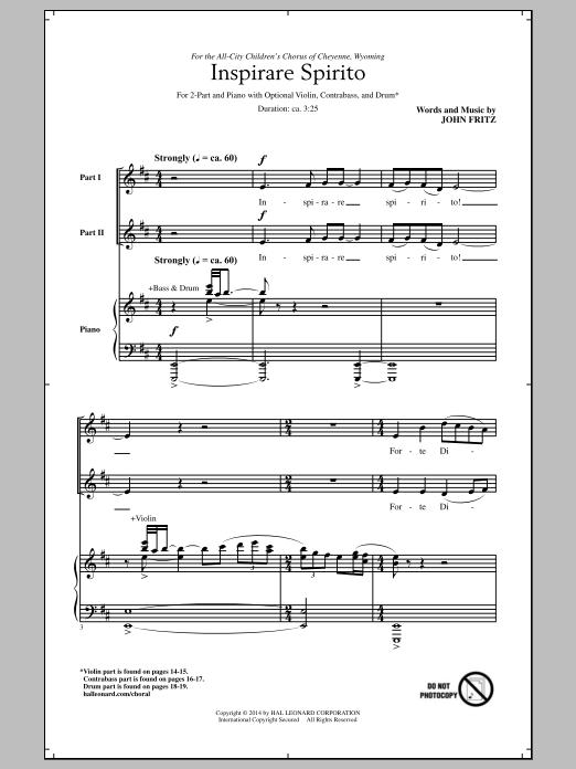 Partition chorale Inspirare Spirito de  - 2 voix