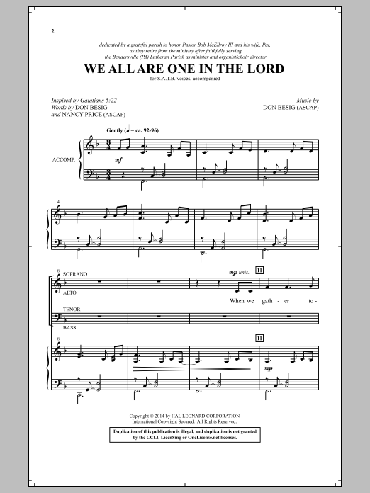 Partition chorale We All Are One In The Lord de Don Besig - SATB