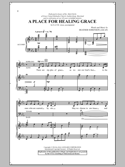 Partition chorale A Place For Healing Grace de Heather Sorenson - SATB