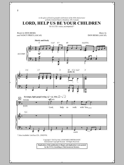 Partition chorale Lord, Help Us Be Your Children de Don Besig - SATB