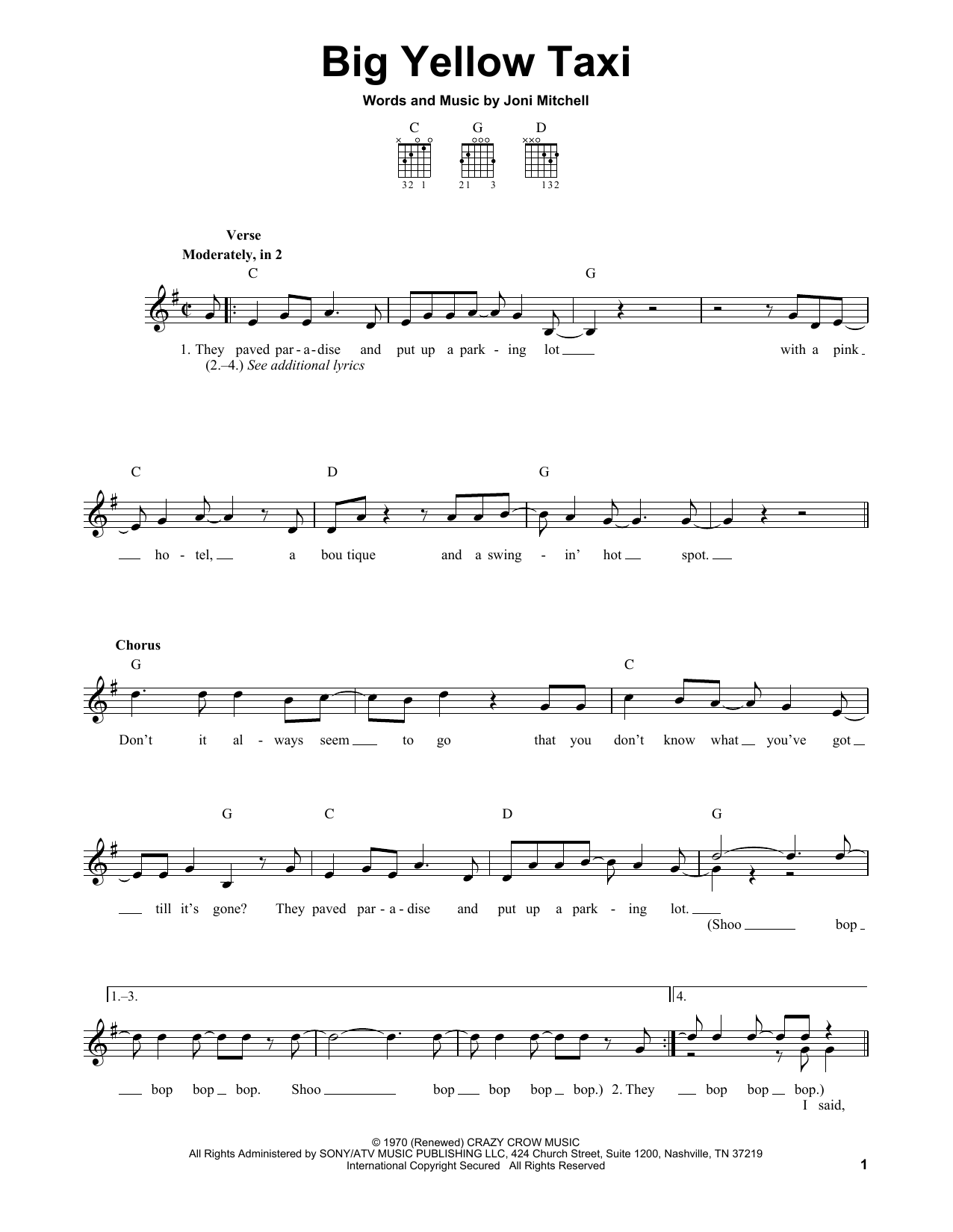 Tablature guitare Big Yellow Taxi de Joni Mitchell - Tablature guitare facile