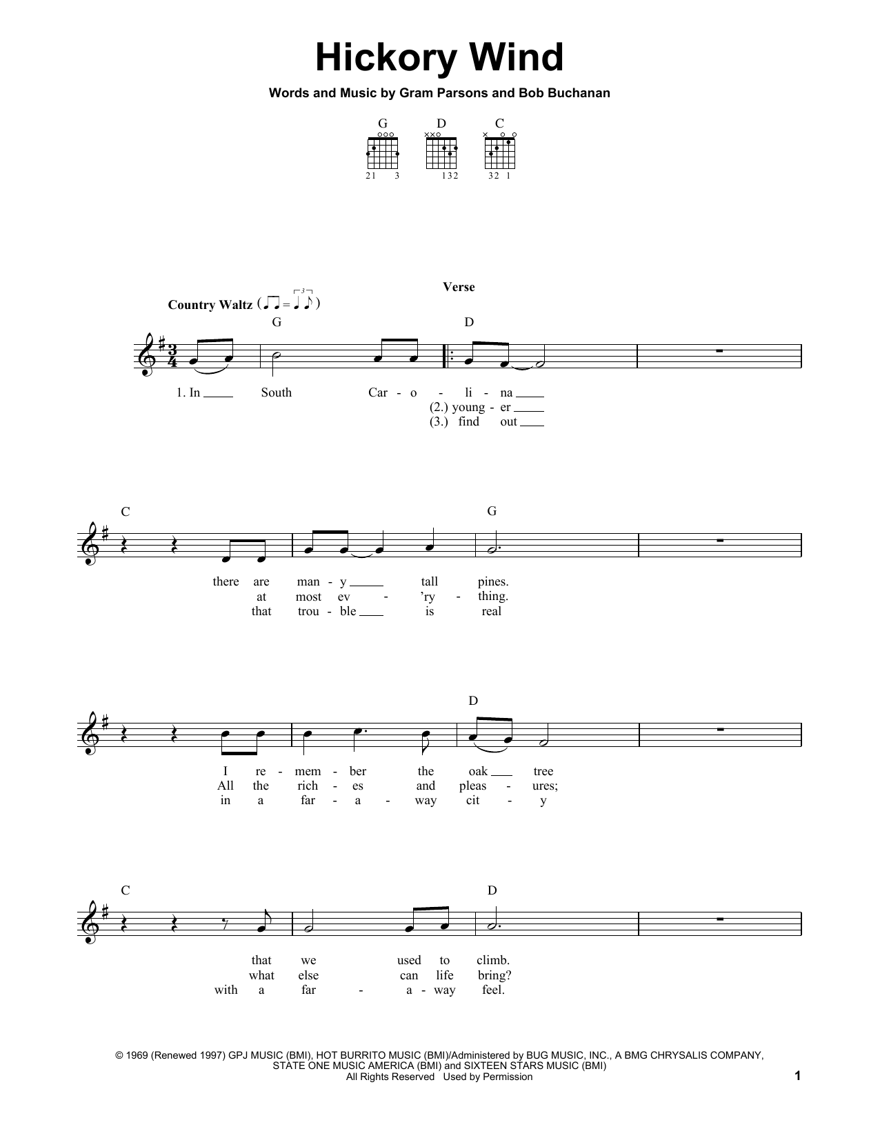 Tablature guitare Hickory Wind de Gram Parsons - Tablature guitare facile